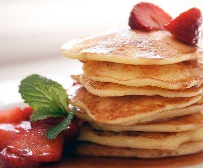 1 cup of cottage cheese   3 eggs   1/4 cup ground flax   1 tsp cinnamon     1 tbsp honey   1 tbsp olive oil     optional:   1 banana   2 tbsp almond butter     Blend all of the above and use a tbsp to drop liquid mix onto griddle. Serve warm or cold, with berries, syrup or almond butter or just by themselves.