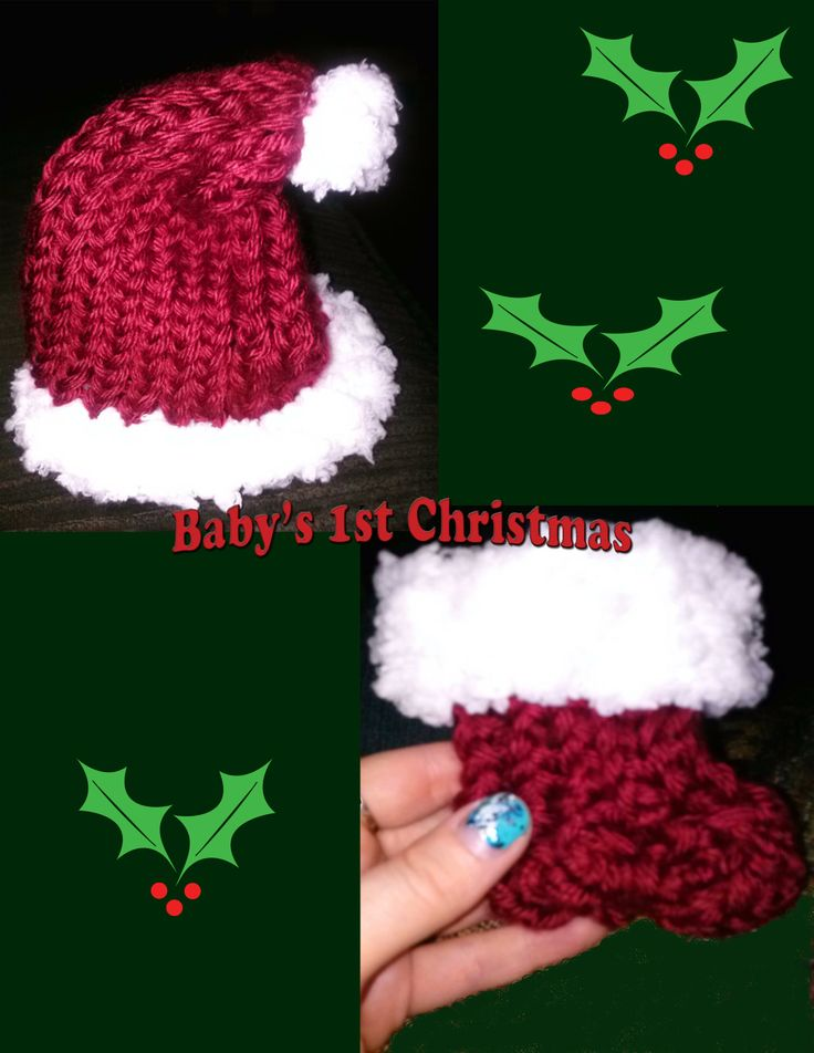 Boye Loom Knitting Stitches : Newborn Santa Hat & Booties. Made on Boye Flower Loom Loom Knitting P...
