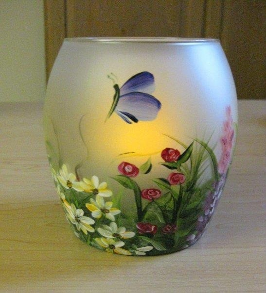 Painted candle holder