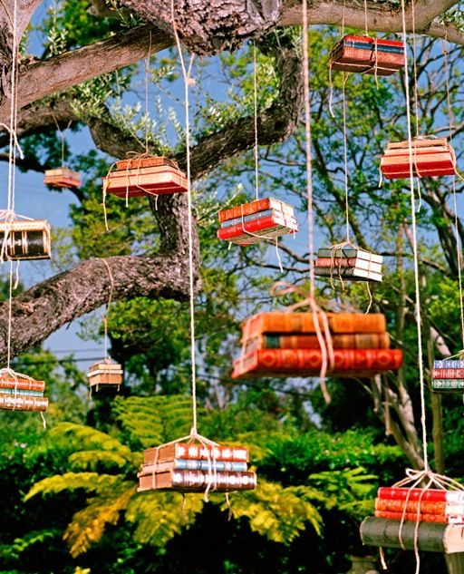 books hanging from tree photo by Gregg Segal