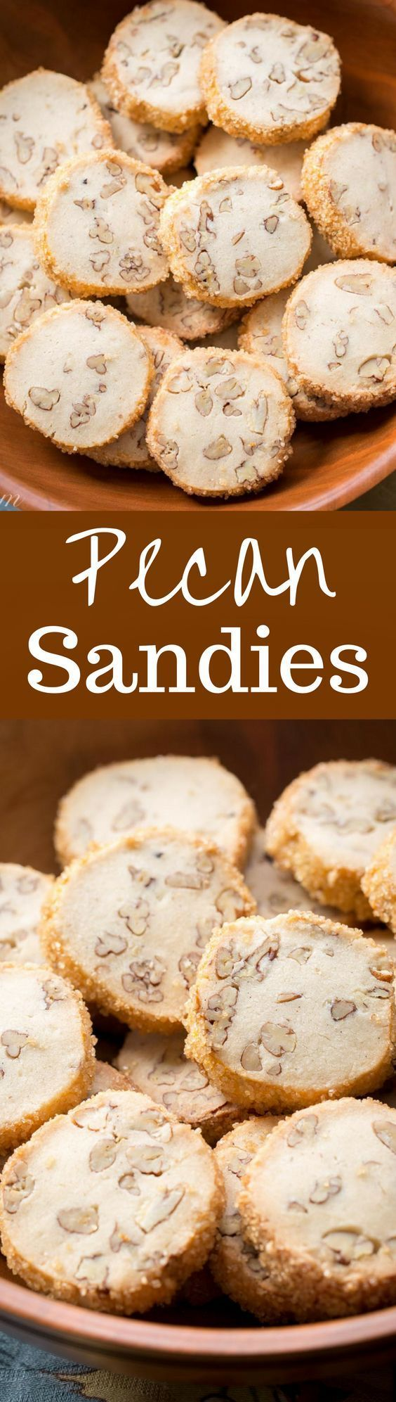 "Pecan Sandies ~ Classic shortbread cookies filled with toasted pecans and vanilla beans with a crisp coating of coarse sugar make these a wonderful and delicious ""perfect anytime cookie.""  http://www.savingdessert.com"