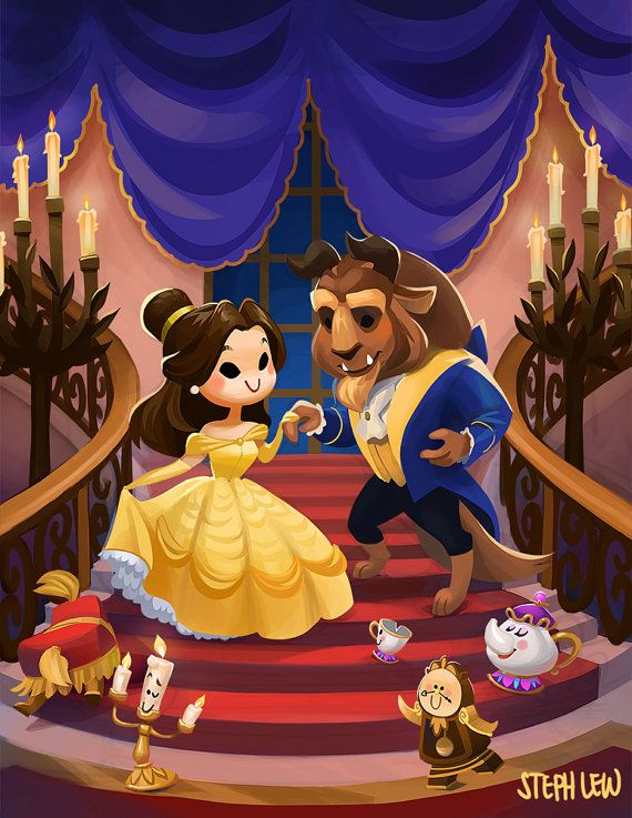 Cuties by StephLewArt on Etsy     Disney, princess, prince, Belle, Beauty and the Beast, Lumiere, Cogsworth, Mrs. Potts, Chip