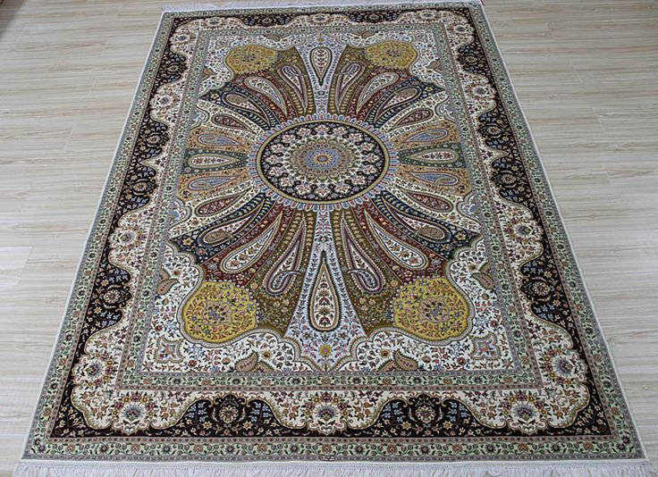 No.2369593, Handmade Silk Carpet. Kpsi 367, Density 230 lines. Size 6'x9' (183cm x   274cm). Real silk, Pure hand-made Origin: Henan China, Zhengzhou Yile Carpet   Company. www.ylrug.com, info@ylrug.com, ylrug@126.com.+86-13849180658