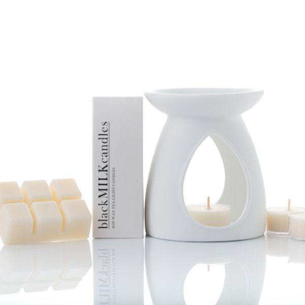 Tea lights, soy wax melt & oil burner set (various scents)