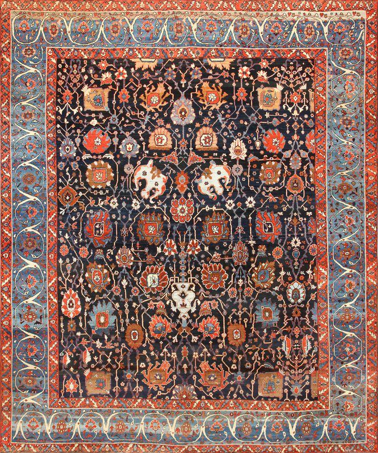Extremely Rare And Beautiful Antique Persian Bakshaish Rug 48720