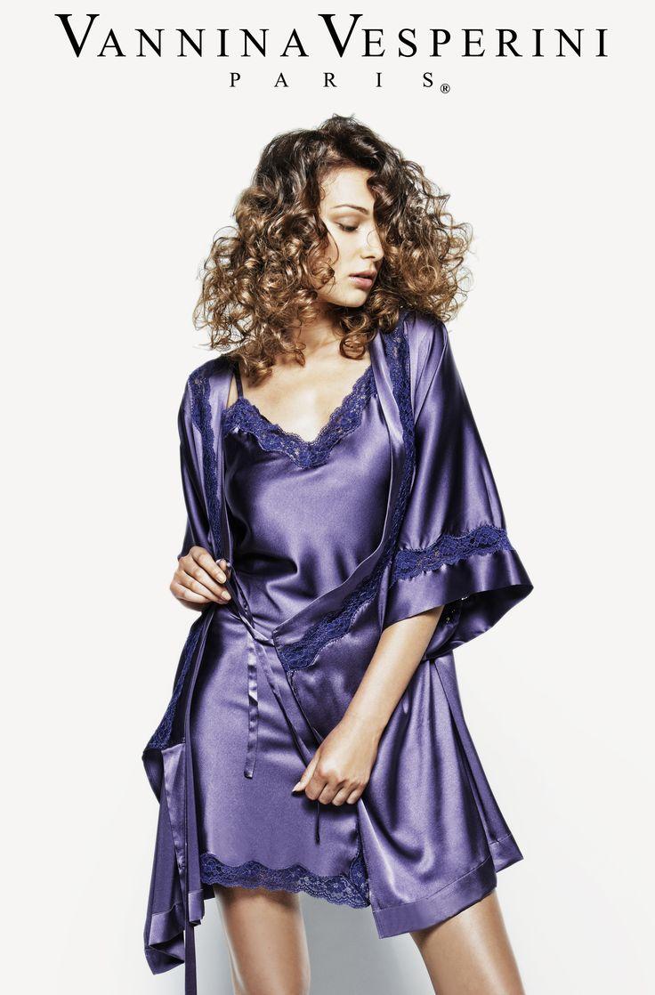Vannina Vesperini S/S 15 Collection. Intemporel theme. Silk kimono and Babydoll in Santina-Moonlight color