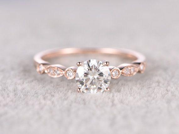 brillante rosa de Moissanite anillo de compromiso oro por popRing