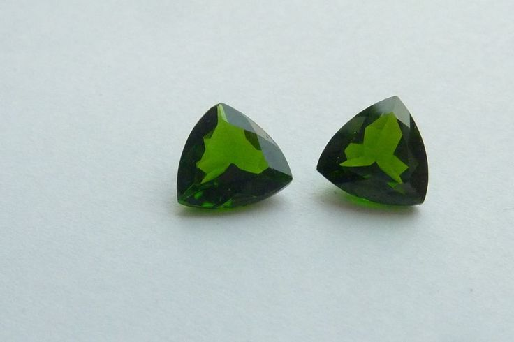 3.04 Cts 100% NATURAL RUSSIAN CHROME DIOPSIDE TRILLION SHAPE LOOSE GEMSTONE PAIR #KinuBabaGems