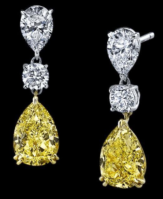 Yellow Diamond Earrings #love!                                                                                                                                                      More