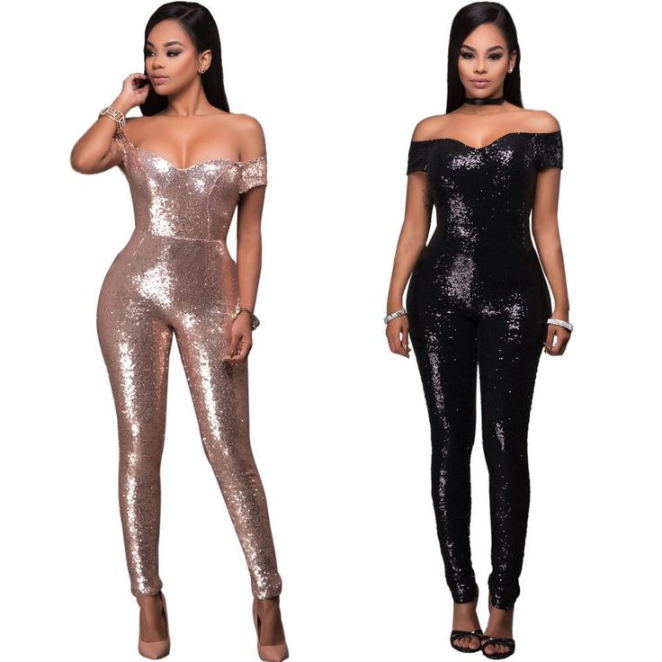 Women Sleeveless Sequin Clubwear Party Cocktail Evening Playsuit Jumpsuit Romper