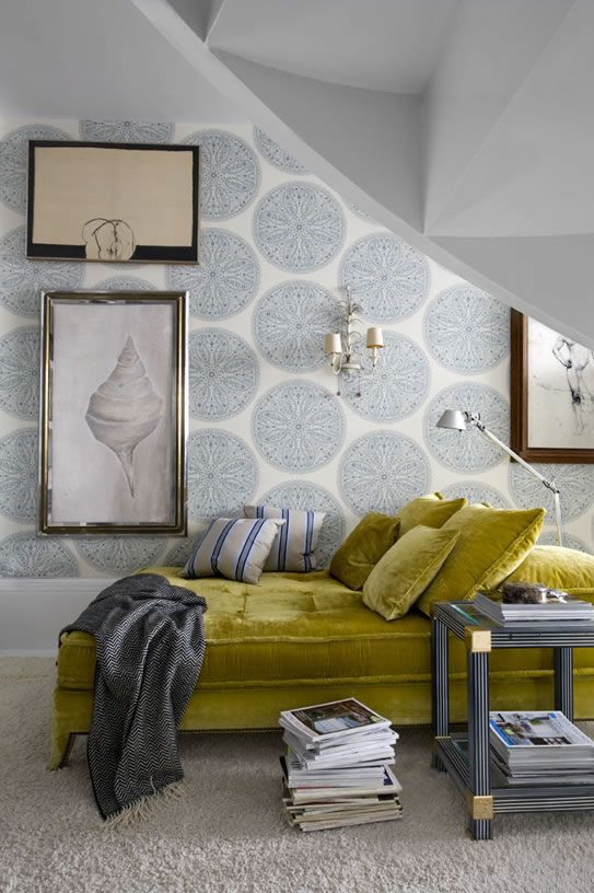 wallpaper, granny sofa, touches of blue.