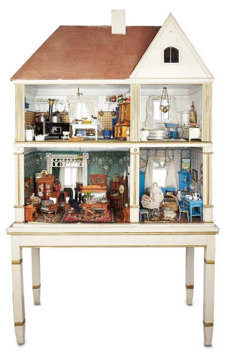 """Theriault's - Rare Grand-Sized German Wooden Dollhouse on Original Table. house, 24"""""""