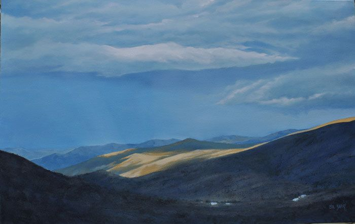 A Light Pause    (oil on canvas, 700X1100X25mm)  by Lisl Barry   www.lislbarry.co.za   Little Karoo landscape
