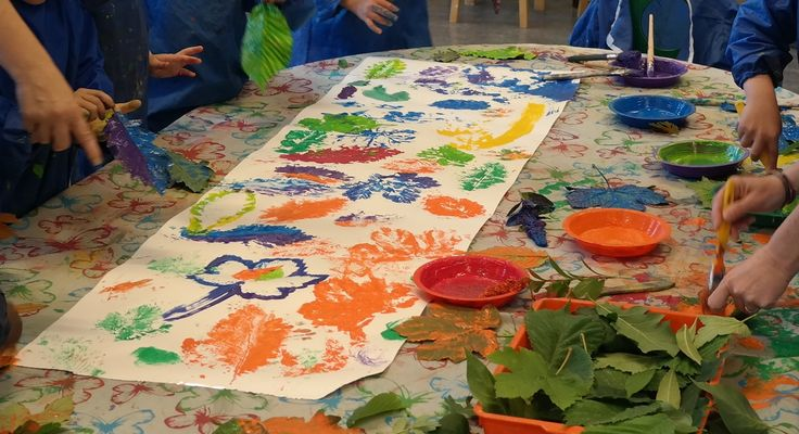 This is a favorite class project; making prints from leaves! We usually take a walk in the local park and have the children carefully pick the leaves themselves, then go back to class and have them make prints with the leaves in all colors!