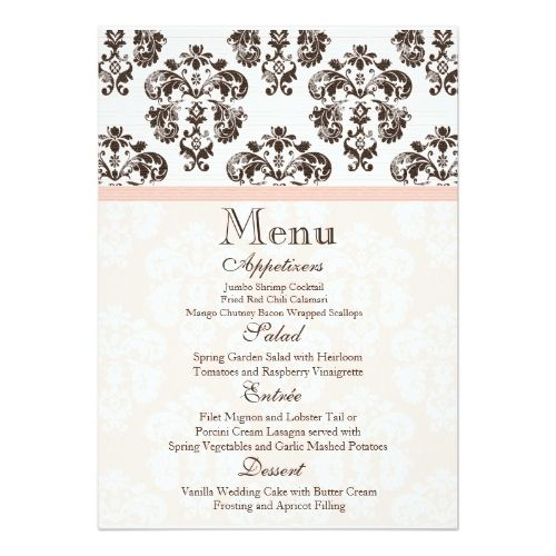 741 best Formal Wedding Invitations images on Pinterest Formal - dinner party menu template