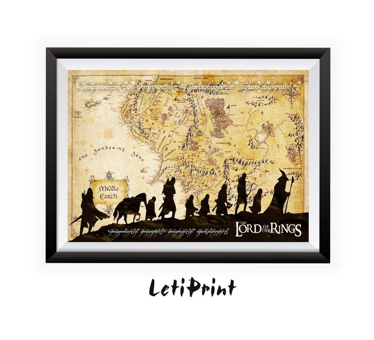 Lord of the Rings Print, Middle Earth Print, Middle Earth Map, Lord Of The Rings Map, Wall Art Decor, Lord Of The Rings Art, Printable Art  PLEASE NOTE that the frame here is NOT included in the sale, it's for illustrative purposes only.  The page size is : International paper  A5- 5.8 x 8.3 in, /14,8 x 21 cm/ - Photo Paper Matt Ultra - 240 gsm A4- 8.3 x 11.7 in, /21 x 29,7 cm/ - Photo Paper Matt Ultra - 240 gsm A3- 11.7 x 16.5 in, /29,7 x 42 cm/ - Photo Paper Ma...