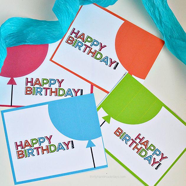 Simple printable birthday cards/tags thirtyhandmadedays.com