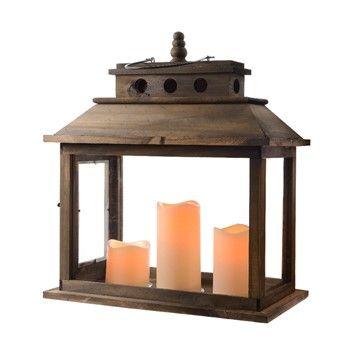 Lanterne bois avec minuterie 6 heures 40x20x52cm