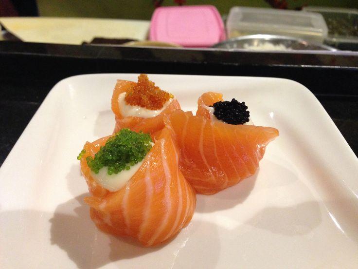 Salmon sashimi with tobiko  #salmonsashimi #tobiko #jakarta