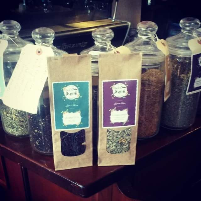 My two tea of the day is memories Garden  improved mood and memory    Lemon balm, oregano, rosemary leaves, scizandraberries, lavender flowers, mullein flowers.  Infuse for 15 minutes.   Tea number two is Sir Bountiful  Ceylon black tea, coconut slices, chocolate drops,   thistle flowers, cornflowers.   Infuse 2 to 3 minutes.   http://www.coxandbaloney.com/loose-tea-shop/