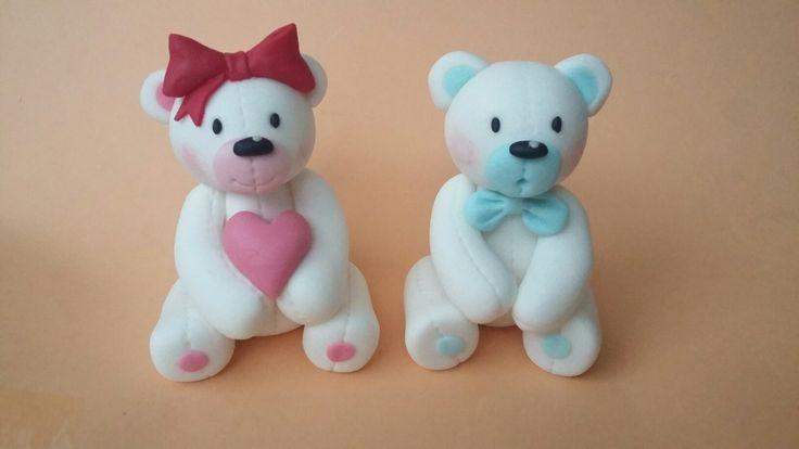 Ursinhos Rosa e azul | Ted Bear cake topper