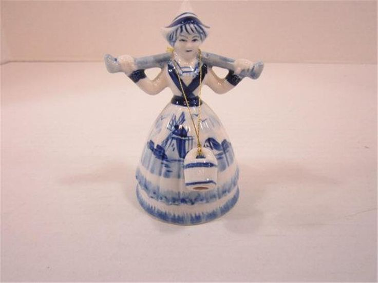 Vintage Dutch Windmill Woman With Water Jugs Blue Marked With Crown And #243 #windmill #dutch #figurine