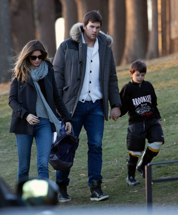 Benjamin Brady with his mom and dad, Gisele Bundchen and Tom Brady, at Larz Anderson Rink on Sunday.