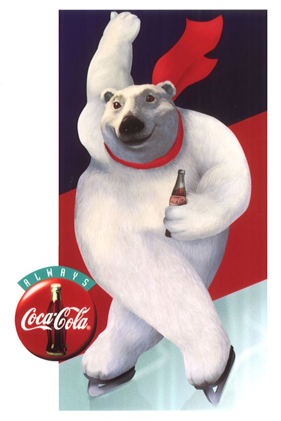 1993    Aside from Santa Claus, one of Coca-Cola's most memorable symbols of the company,is the animated Polar Bear. It came from the Northern Lights advertising campaign. The first ad featured polar bears watching a 'movie', a play of aurora borealis while drinking Coca-Cola.