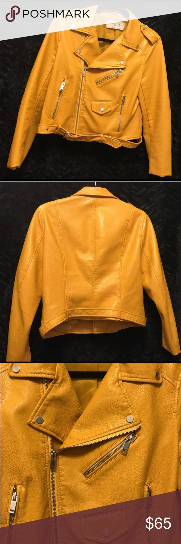 Zara Biker Faux Leather Jacket - Good condition - Size L - Mustard Yellow - Women/Men - Outer Material: 88% Viscose, 12% Polyester - Coating: 100% Polyurethane  - Lining: 100% Polyester - Zara SS16  Accepting offers • No trades • All sales final   Comment below if you have any questions. Zara Jackets & Coats