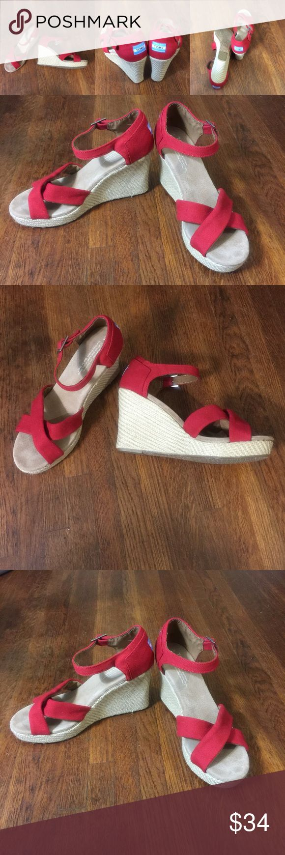 Toms red canvas open toe wedge espadrille sandals ❤️Very good condition ❤️super clean ❤️size 9.5 W❤️ Toms Shoes Wedges