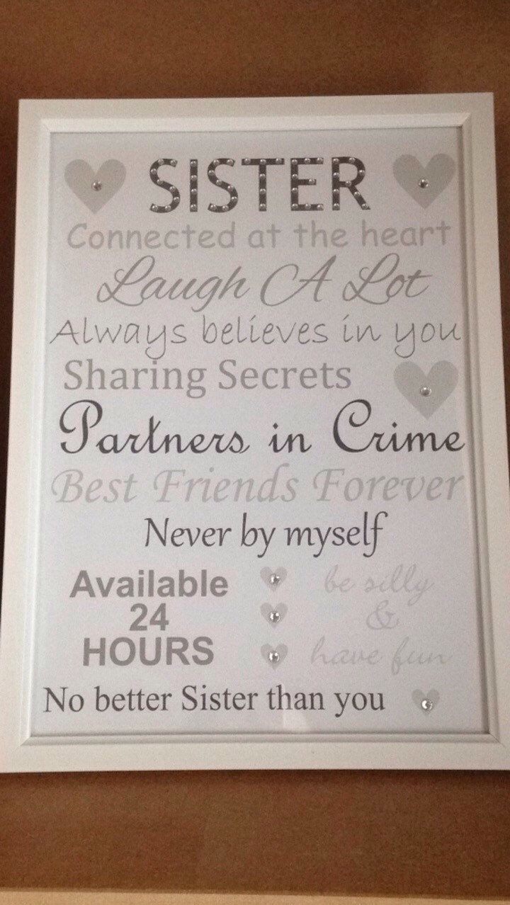Sister Frame Birthday Present Gifts Ideas In Law Auntie Gift Decor