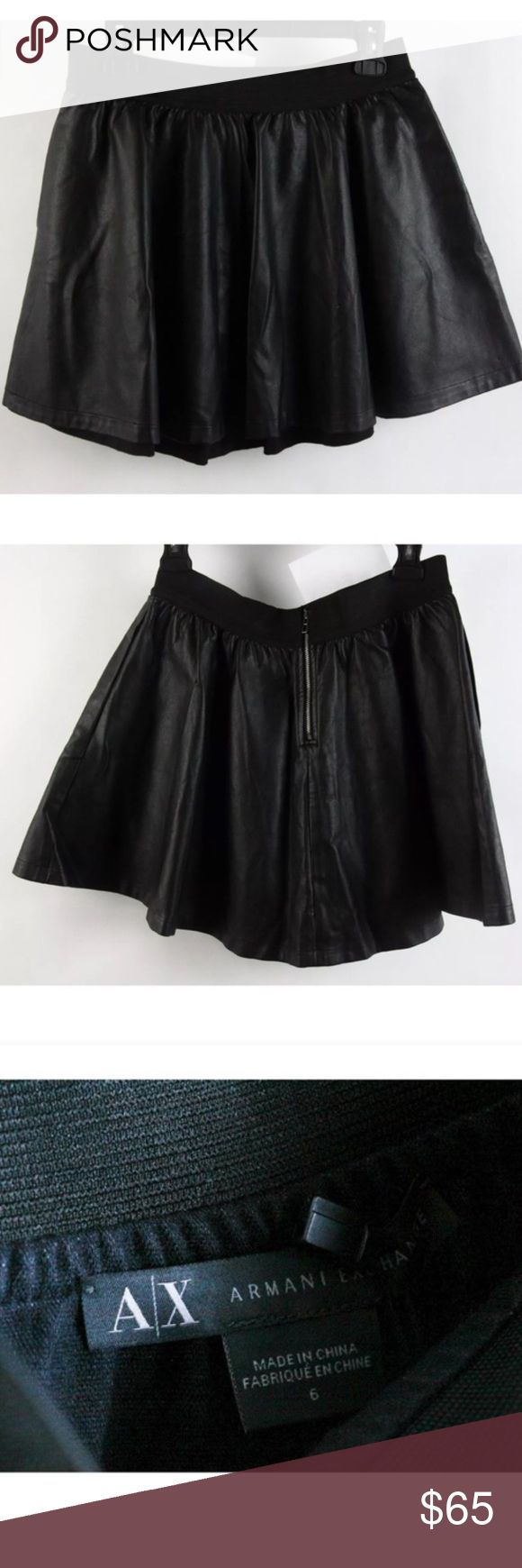 NWT SEXY ARMANI EXCHANGE FAUX LEATHER SKIRT! Black Faux leather authentic NWT A/X Armani Exchange Skirts Mini