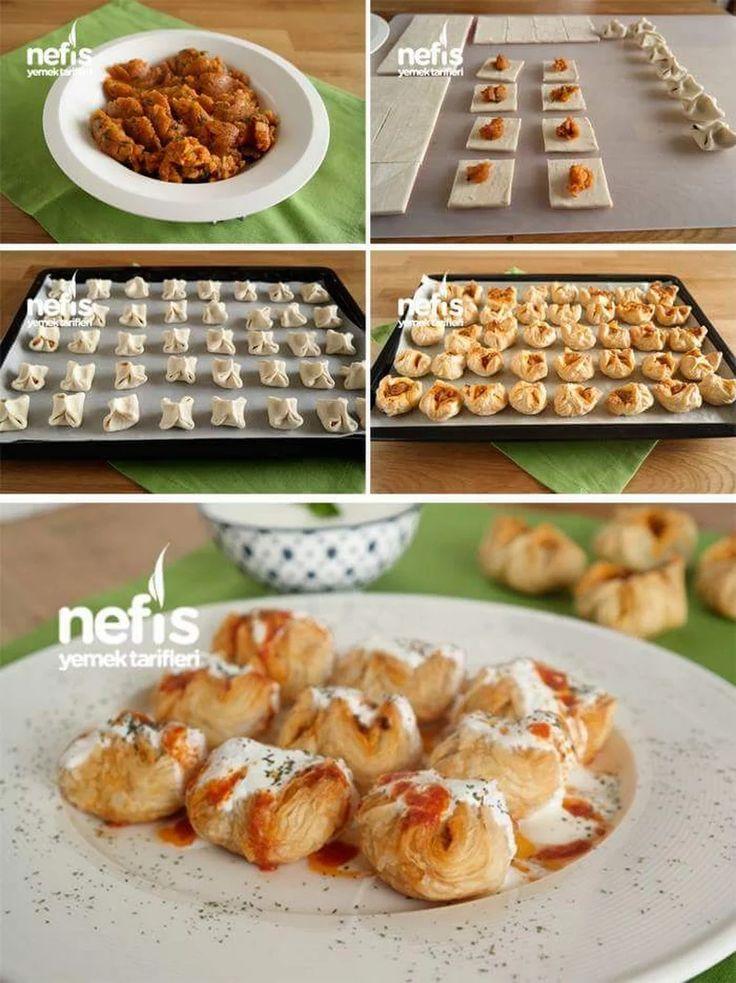 Pratik Milföylü Mantı Malzemeler 5 adet milföy (dikdörtgen) İç malzemesi; 2 adet haşlanmış patates 3 yemek kaşığı sıvı yağ 1 yemek kaşığı salça Tuz Kara... - f. özbağ - Google+
