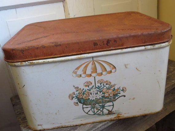 Vintage METAL BREAD BOX Rusty Green White Yellow Shabby Chic Decor Storage Box Trinket Box