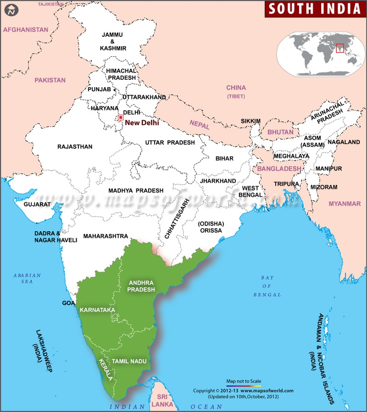 What Places Cannot Be Missed In North Kerala: #Map Showing The #SouthIndia States Andhra Pradesh