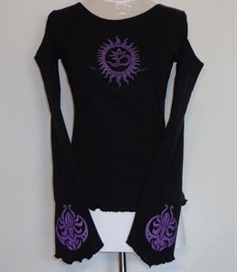 Flare sleeve cut out shoulder top. Purple Ohm/Lotus print. Rib cotton.