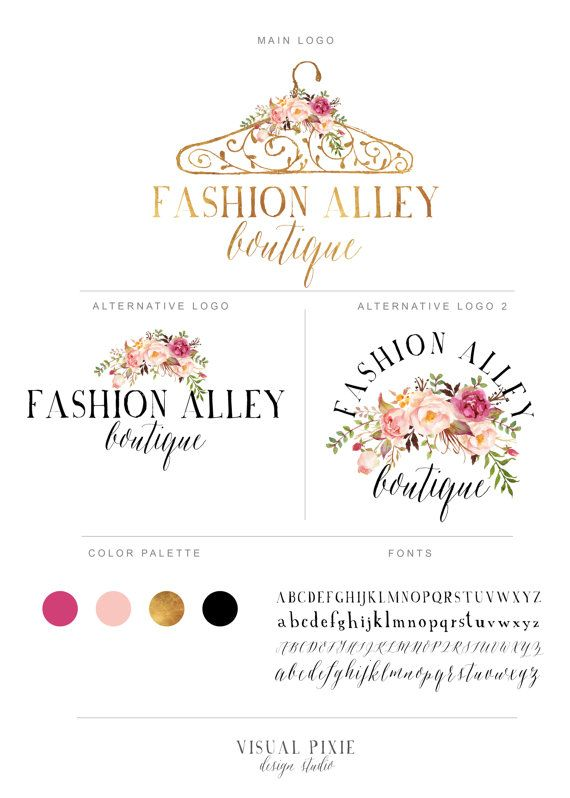 Branding Package  Gold Hanger Logo  Watercolor by VisualPixie