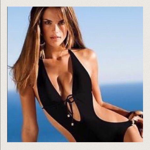 Victoria's Secret* Black One piece swimsuit Very sexy Black one piece cut out Swimsuit with Gold hardware. Great condition. Victoria's Secret Swim One Pieces