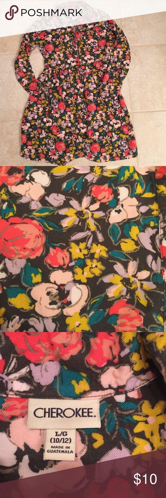 Girls dress size medium Girls Cherokee brand dress.  Super cute flower print.  Small pocket on left chest. Cherokee Dresses Casual