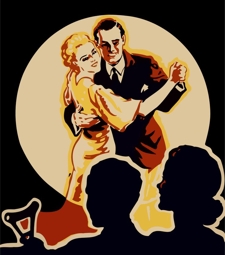 """Ballroom dancers by @Firkin, Derived from a vintage poster advertising """"The President's Birthday Ball"""" to """"fight infantile paralysis"""". This may explain why the person watching on the left appears to be holding a crutch. The poster was uploaded to public domain pictures by Dawn Hudson., on @openclipart"""