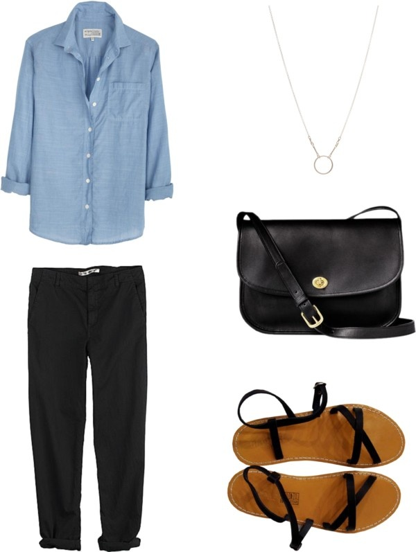Chambray (or denim) button-up shirt, cuffed black trousers, black strappy sandals