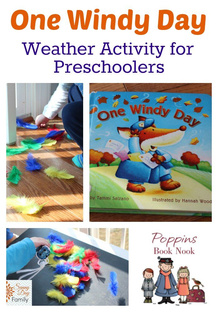 Book & weather learning activity for preschoolers featuring the book One Windy Day. Part of the Poppins Book Nook virtual book club for kids!