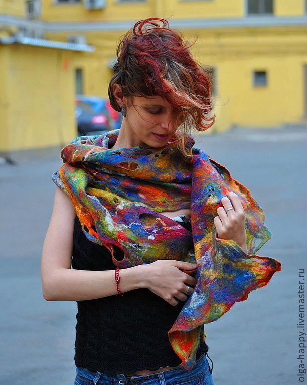 Купить Авторская ручная работа  Валяный шарф- палантин Крылья бабочки - Мокрое валяние