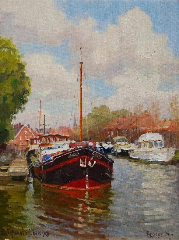 """""""Harbor of Bruges"""" 16"""" x 12"""" O/C Sold"""