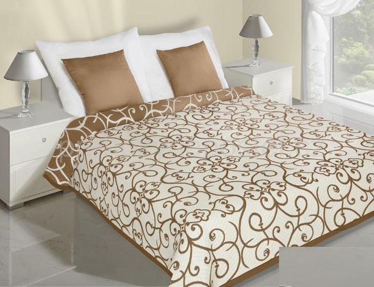Květinový krémový přehoz na postel oboustranný
