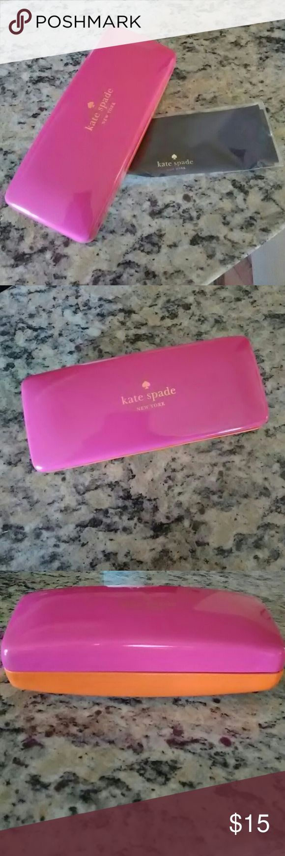 Kate Spade sunglass case Pink/orange Kate Spade sunglass case and cleaning cloth. New. Deeper case than my other listing, this is made for a sunglass frame. kate spade Accessories Glasses
