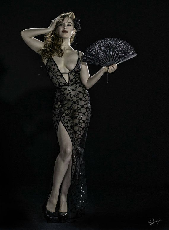 Starlet Film Noir Naked Dress in sheer mesh covered in black bow sequins Old Hollywood Vintage Style Gown