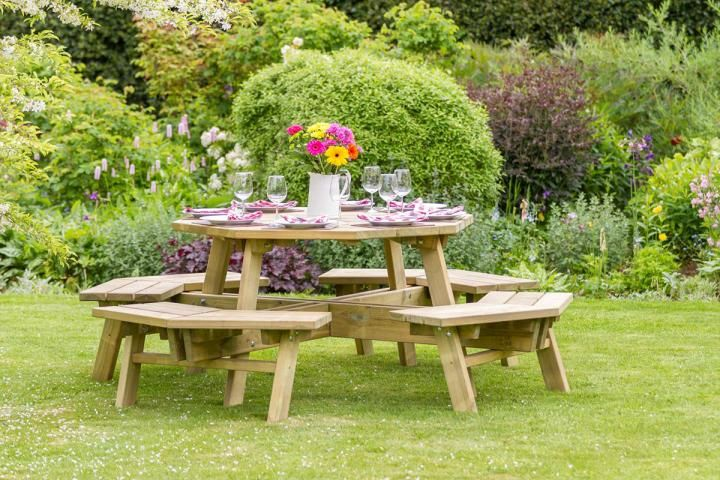 Round Picnic Tables Unattached Benches Built To Last Decades Round Patio Table Wooden Picnic Tables Patio Table