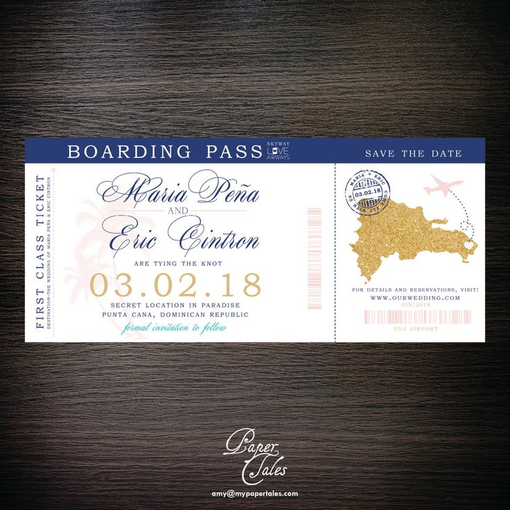 destination wedding save the dates and invitations%0A Blush Pink  u     Navy Blue Dominican Republic  Boarding Pass Destination Wedding  u