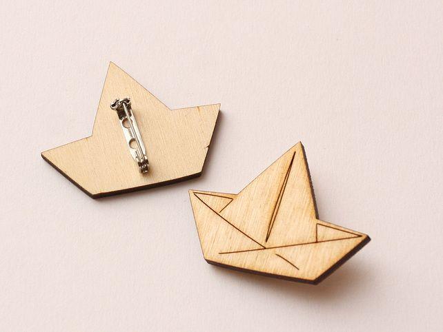 Wooden brooch: origami boat